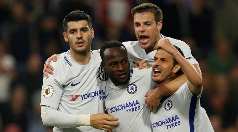 Chelsea's Victor Moses celebrates scoring their second goal with Pedro Alvaro Morata and Cesar Azpilicueta
