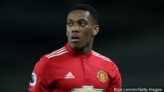 Anthony Martial of Manchester United in action during the Premier League match between Brighton and Hove Albion and Manchester United at Amex Stadium