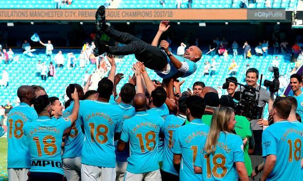 Manchester City celebrate their Premier League title