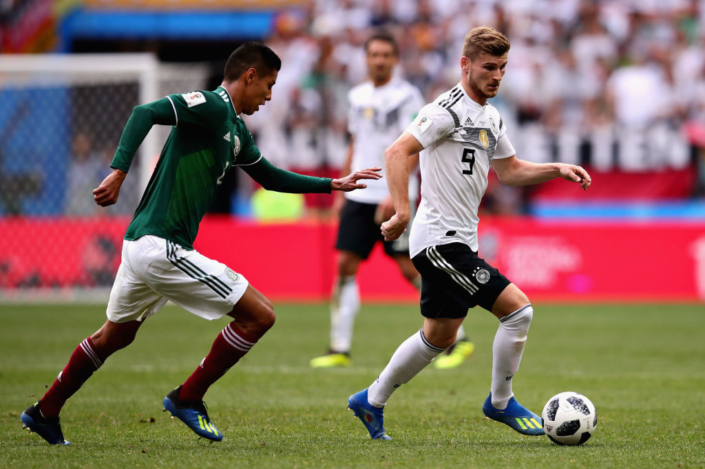 MOSCOW RUSSIA- JUNE 17 Timo Werner of Germany in action during the 2018 FIFA World Cup Russia group F match between Germany and Mexico at Luzhniki Stadium