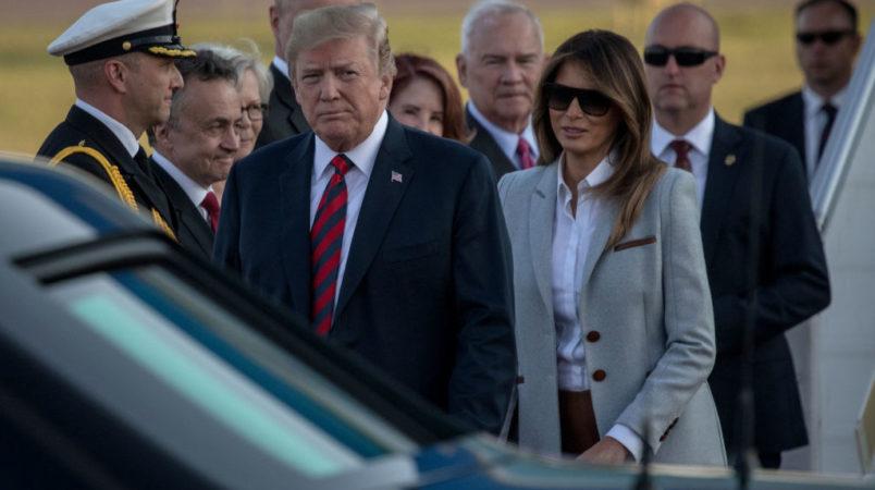 HELSINKI FINLAND- JULY 15 U.S. President Donald Trump and First Lady Melania Trump arrive aboard Air Force One at Helsinki International Airport