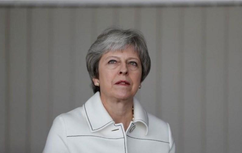 Minister Theresa May meets scientists at Jodrell Bank in Macclesfield Britain