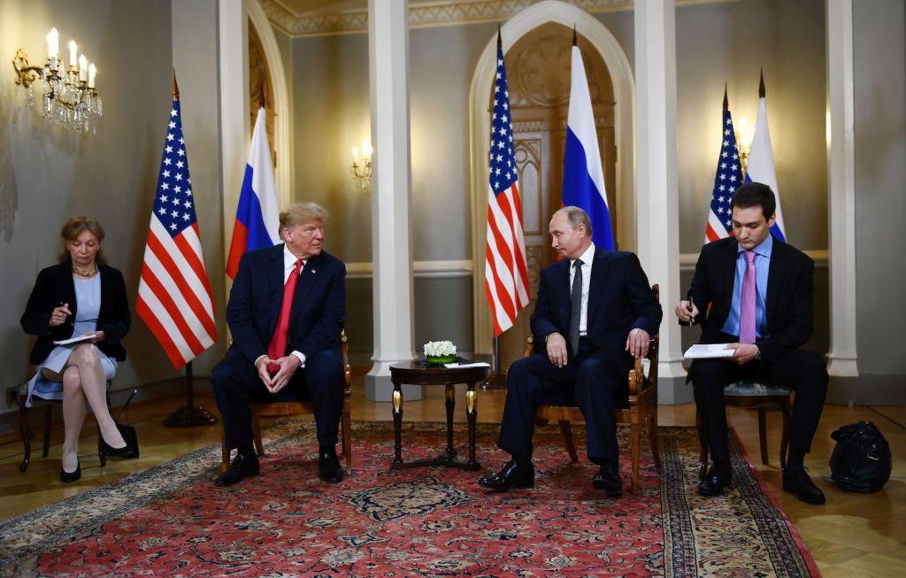 Russian President Vladimir Putin and U.S. President Donald Trump meet in Helsinki on July 16