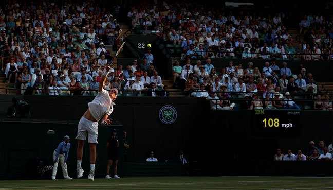 South Africa's Kevin Anderson in action during the fourth round match against France's Gael Monfils