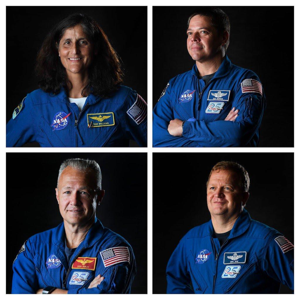 Clockwise from top left Sunita Williams Bob Behnken Doug Hurley and Eric Boe