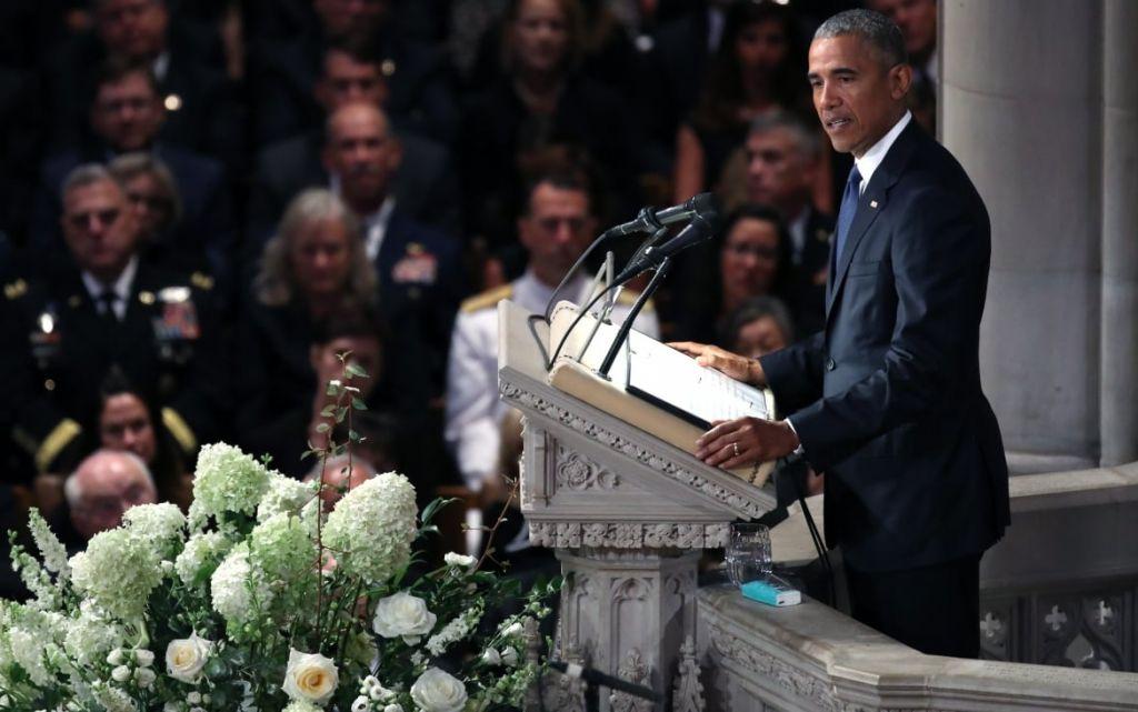 National Cathedral Hosts Memorial Service For Sen. John Mc Cain WASHINGTON DC- SEPTEMBER 1 Former U.S. President Barack Obama speaks at the funeral service for U.S. Sen. John Mc Cain at the National Cathedral