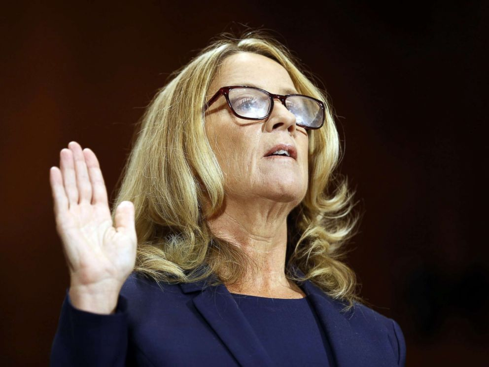 Ford is sworn in to testify before a Senate Judiciary Committee confirmation hearing for Kavanaugh on Capitol Hill in Washington Sept. 27 2018