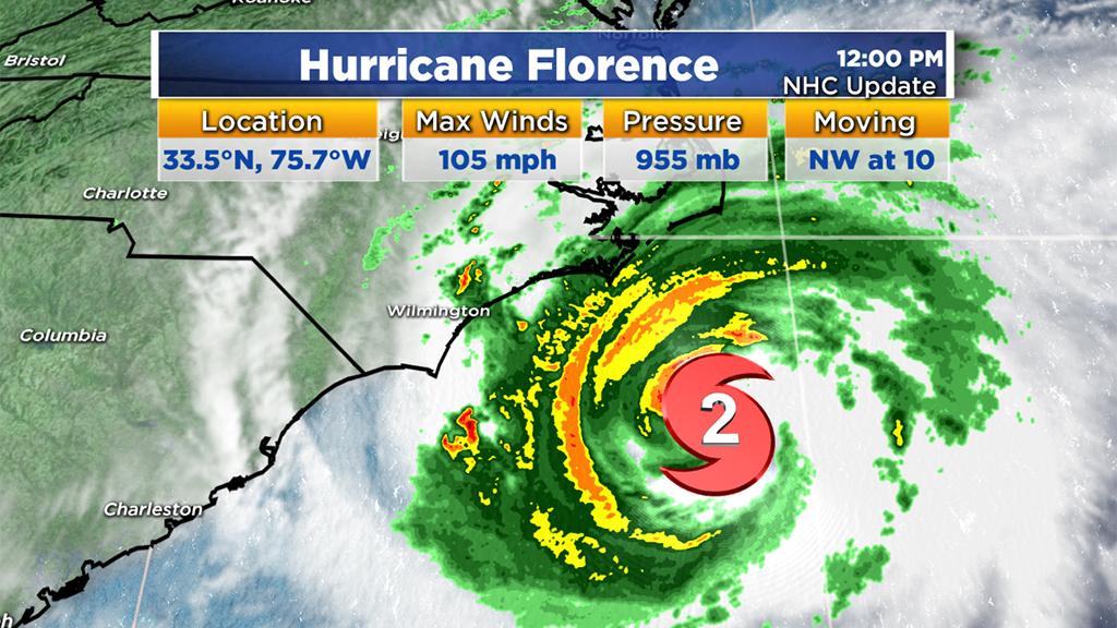 11am2 Hurricane Florence May Stall Off Wilmington North Carolina